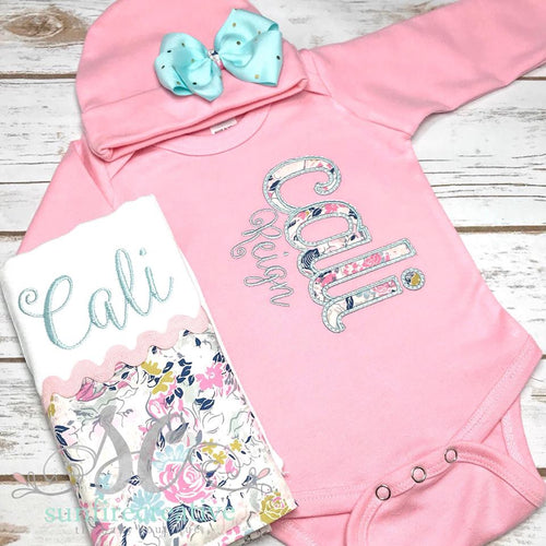 Girl Floral Coming Home Outfit - Pink Coming Home Outfit