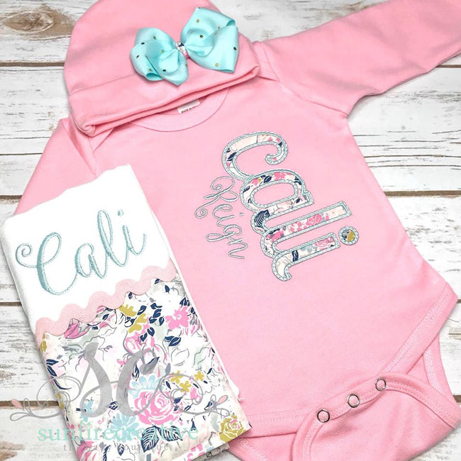 Girl Floral Coming Home Outfit - Pink Coming Home Outfit - Sunfire Creative Baby Boutique
