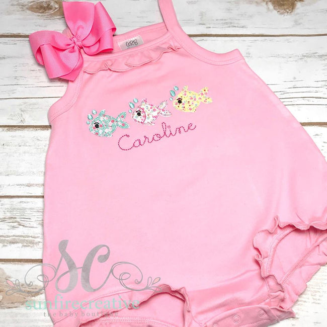 Girls Fish Bubble Romper - Summer Bubble Romper for Girls - Sunfire Creative Baby Boutique