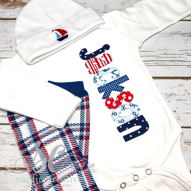Sail Boat Boys Coming Home outfit - Sunfire Creative Baby Boutique