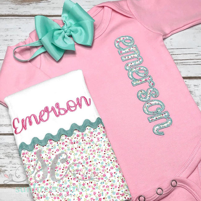 Floral Girl Coming Home Outfit - Pink Coming Home Outfit - Sunfire Creative Baby Boutique