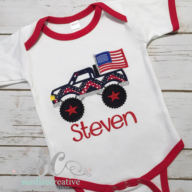 Boy 4th of July Outfit - 4th of July Truck - Sunfire Creative Baby Boutique