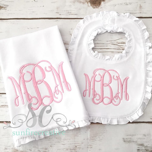 Girl Monogrammed Burp Cloth and Bib