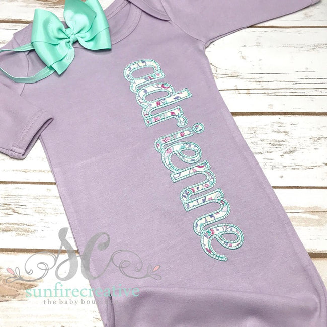 Purple Baby Girl Gown - Name Gown - Sunfire Creative Baby Boutique