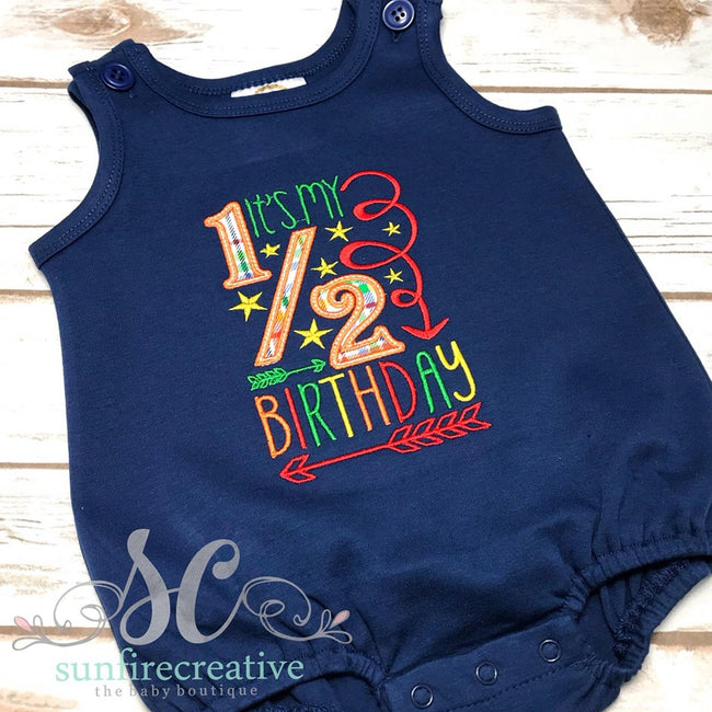 Half Birthday Shirt -   Half Birthday Bodysuit - Sunfire Creative Baby Boutique