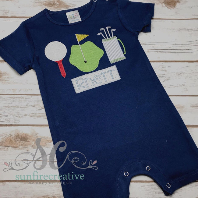 Golf Romper - Boy Golf Outfit - Sunfire Creative Baby Boutique