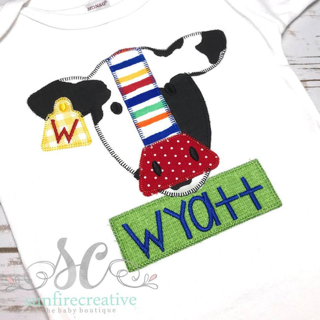 Black and white Cow Shirt - Boy Cow Outfit - Sunfire Creative Baby Boutique
