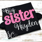 Big Sister Outfit - Sibling Outfit - Pink and Black Big Sister Shirt - Sunfire Creative Baby Boutique