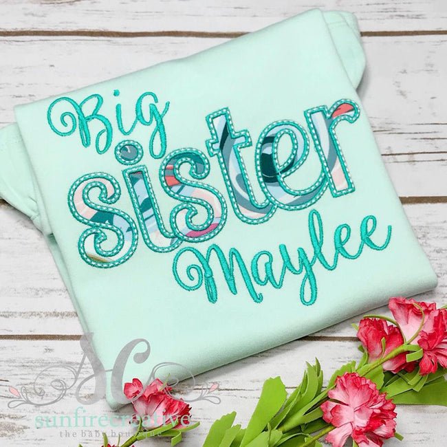Mint Big Sister Shirt - Birth Announcement Shirt - Sunfire Creative Baby Boutique