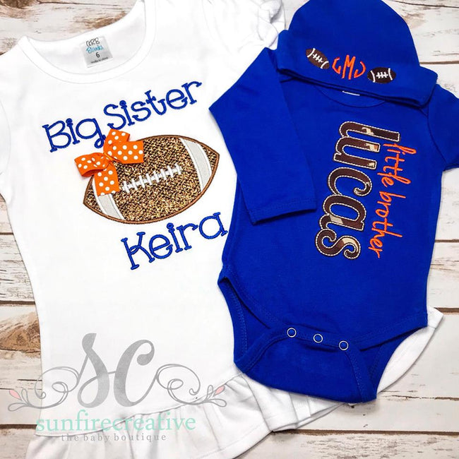 Blue Boy Coming Home Outfit - Little Brother Football Gown - Sunfire Creative Baby Boutique
