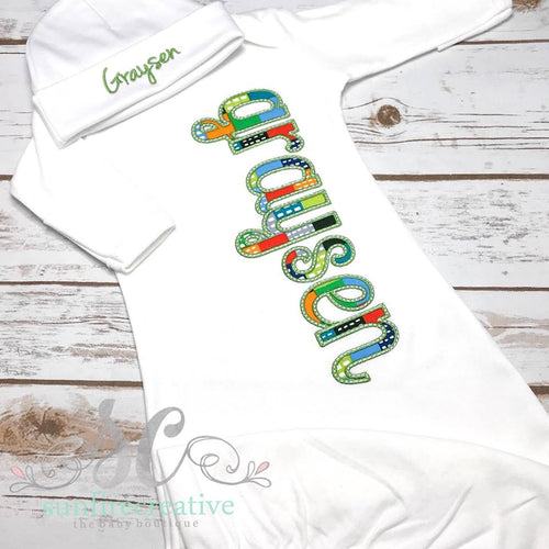 Boy Coming Home Gown with Name - Personalized Hospital Gown