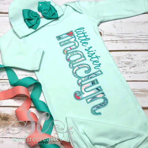 Mint Baby Girl Coming Home Outfit - Personalized Baby Gown
