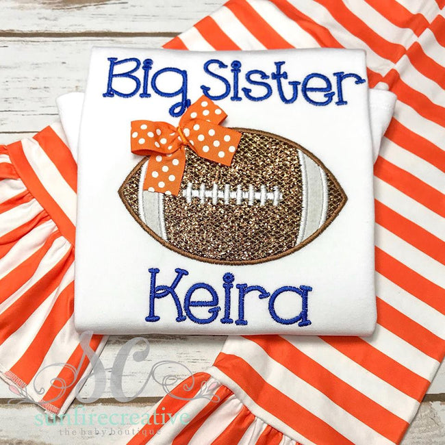 Big Sister Shirt - Big Sister with Football Shirt - Sunfire Creative Baby Boutique