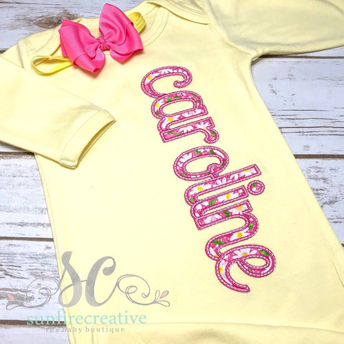 Yellow Baby Gown - Girls Yellow and Pink Baby Gown