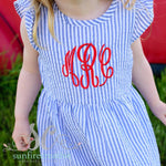 Navy Seersucker Dress - Monogrammed Girl Dress - Back to School Dress
