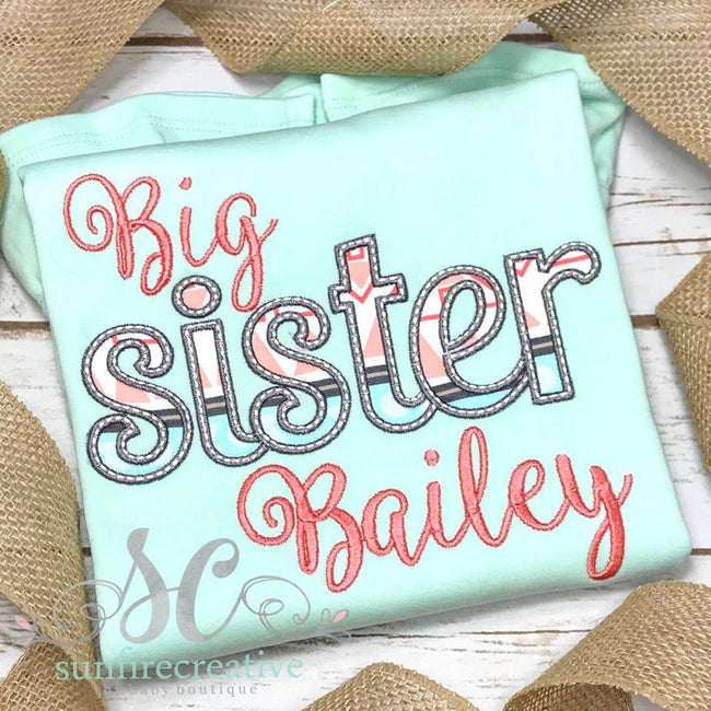 Mint, Coral and Gray Big Sister Shirt - Birth Announcement Shirt - Sunfire Creative Baby Boutique