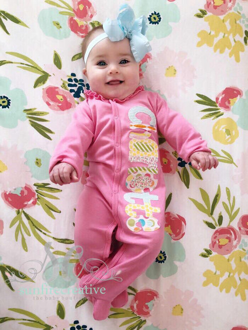 Pink Footed Sleeper - Baby Girl Playsuit
