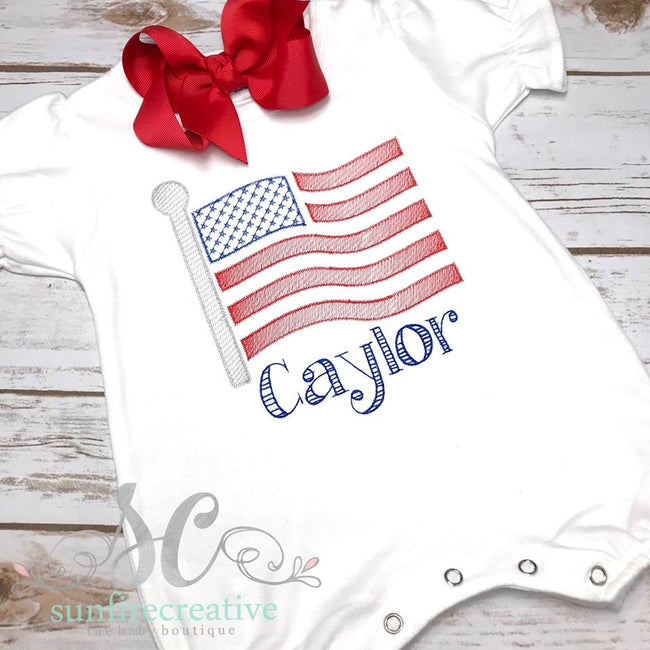 Girl Flag Romper - 4th of July Outfit
