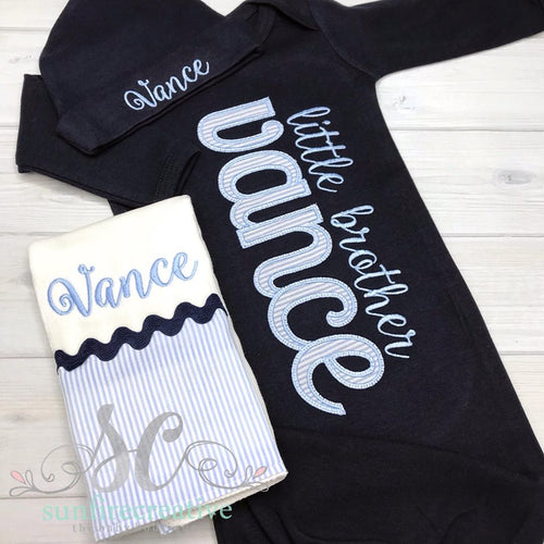 Navy Baby Boy Coming Home Outfit - Little Brother Gown