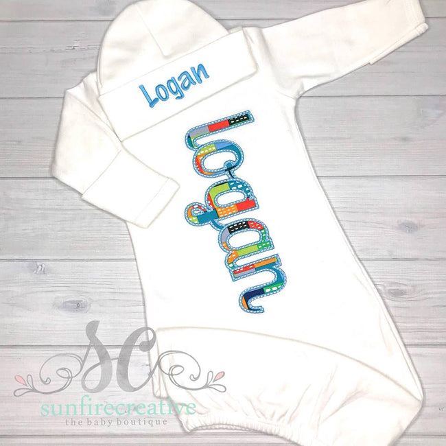 Baby Boy Gown - Coming Home Outfit - Sunfire Creative Baby Boutique
