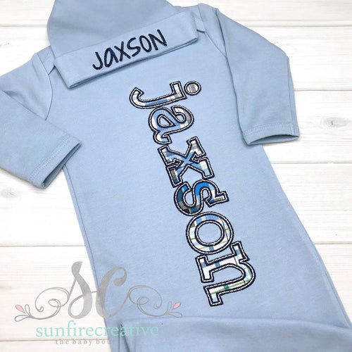 Baby Boy Coming Home Gown - Newborn Hospital Outfit