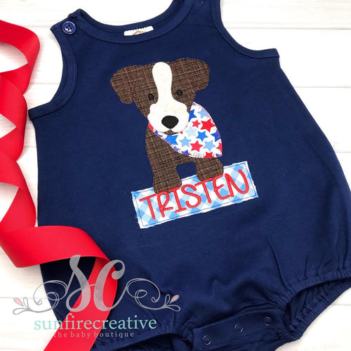 Patriotic Dog Bubble - Navy Sun Bubble