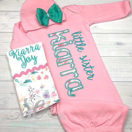 Baby Girl Name Gown - Little sister Coming Home Outfit
