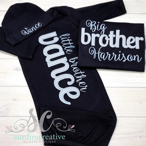 Baby Coming Home Outfit - Sibling Set - Big Brother Little Brother Set