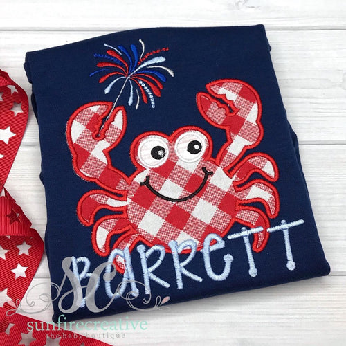 Patriotic Crab Shirt - Boys Navy 4th of July Shirt