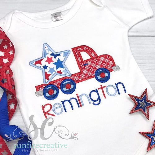 Boys 4th of July Truck Shirt - 4th of July Outfit