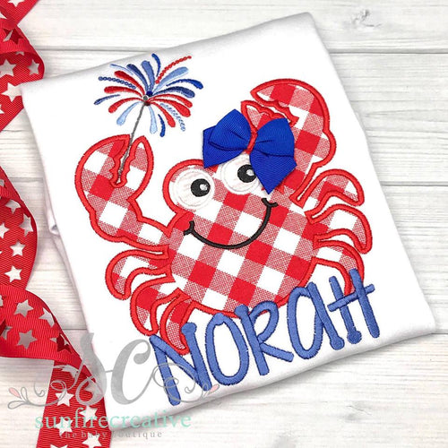 Patriotic Crab Shirt - Girls 4th of July Shirt