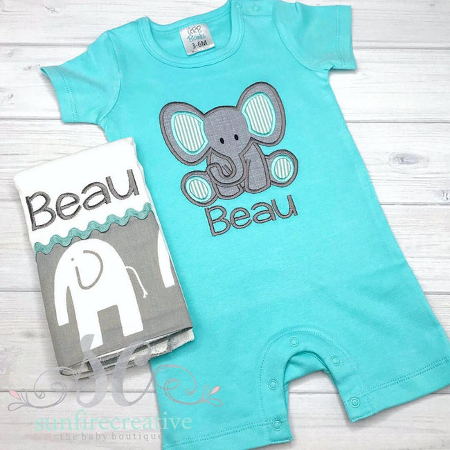 Baby Boy Elephant Romper - Zoo Outfit - Sunfire Creative Baby Boutique