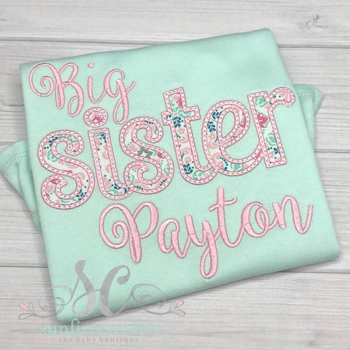 Big Sister Shirt - Big Sister Applique Shirt
