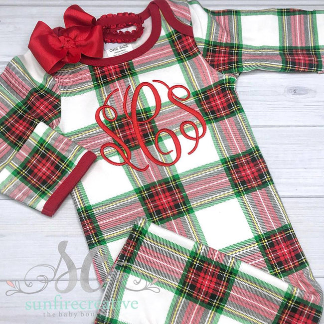 Christmas Baby Gown - Plaid Baby Gown - Sunfire Creative Baby Boutique