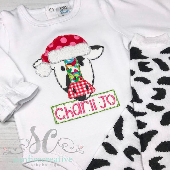 Christmas Cow Shirt - Sunfire Creative Baby Boutique