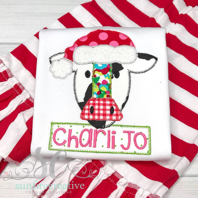 Christmas Cow Shirt - Santa Hat Cow - Sunfire Creative Baby Boutique