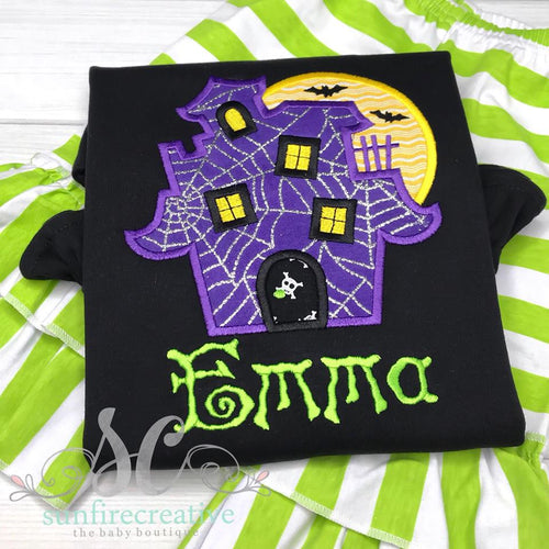 Girls Halloween Outfit - Haunted House Shirt