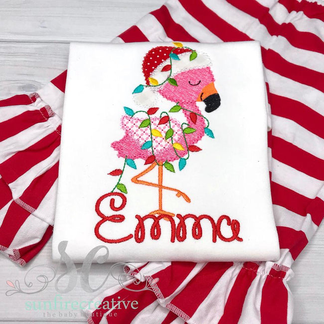 Christmas Flamingo Shirt - Girls Christmas Outfit - Sunfire Creative Baby Boutique