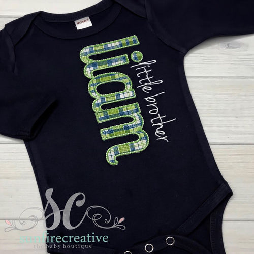 Little Brother Outfit - Sibling Shirt - Navy Little Brother Set