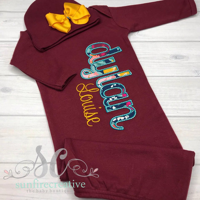 Girls Coming Home Outfit - Maroon Coming Home Gown - Sunfire Creative Baby Boutique