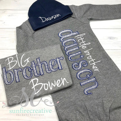 Sibling Outfits - Baby Going Home Gown - Big Brother Shirt