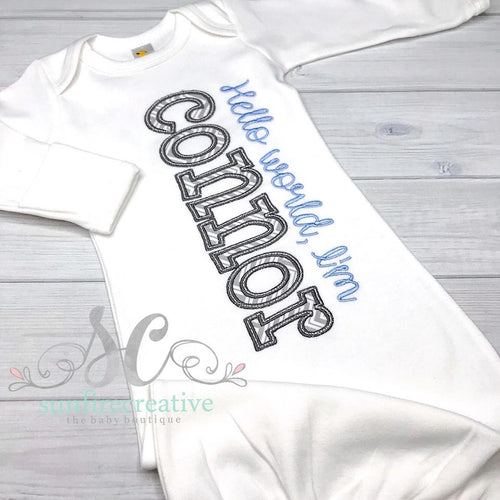 Hello World Baby Gown - Baby Coming Home Outfit