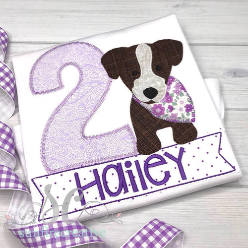 Birthday Puppy Shirt - Girls Puppy Birthday Shirt