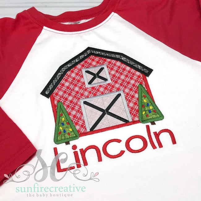 Christmas Barn Raglan - Sunfire Creative Baby Boutique