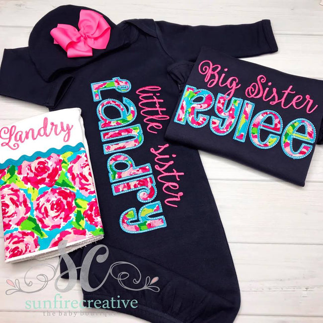 Sibling Set - Sister Set - Baby Gown - Sunfire Creative Baby Boutique
