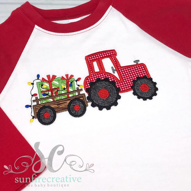 Boy's Christmas Shirt - Christmas Tractor Shirt - Sunfire Creative Baby Boutique
