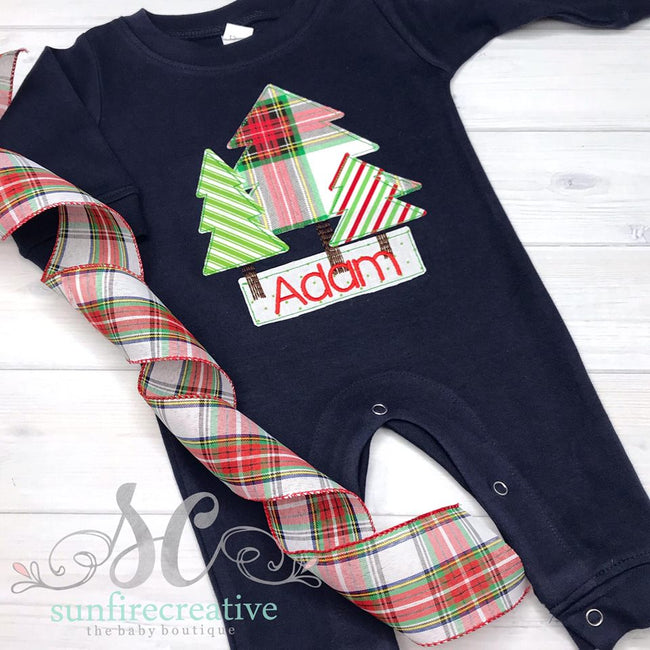 Boy's Christmas Romper - Christmas Tree Romper - Sunfire Creative Baby Boutique