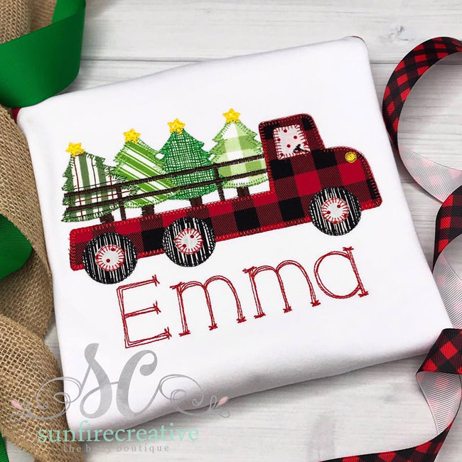 Christmas Truck Shirt - Buffalo Plaid Truck with Trees