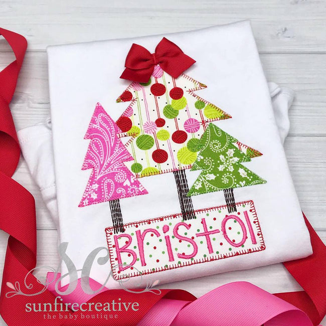 Girls Christmas Outfit - Christmas Tree Shirt - Sunfire Creative Baby Boutique