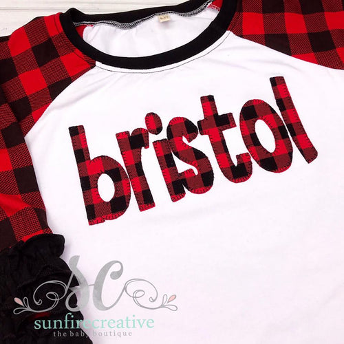 Personalized Buffalo Plaid Raglan